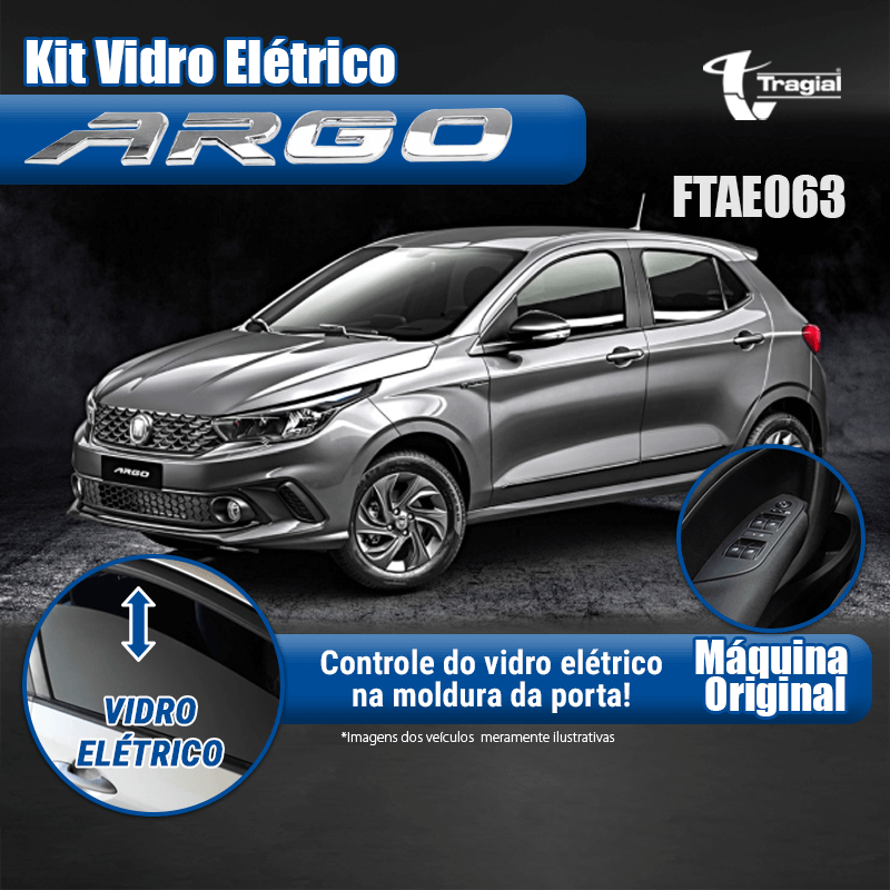 Kit Vidro Elétrico com Sistema Antiesmagamento Fiat Argo 4 Portas Traseiro Tragial