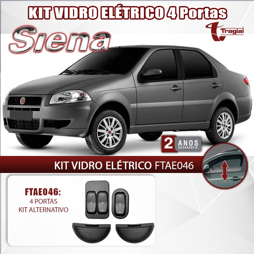 Kit Vidro Elétrico com Sistema Antiesmagamento Fiat Siena 4 Portas Tragial