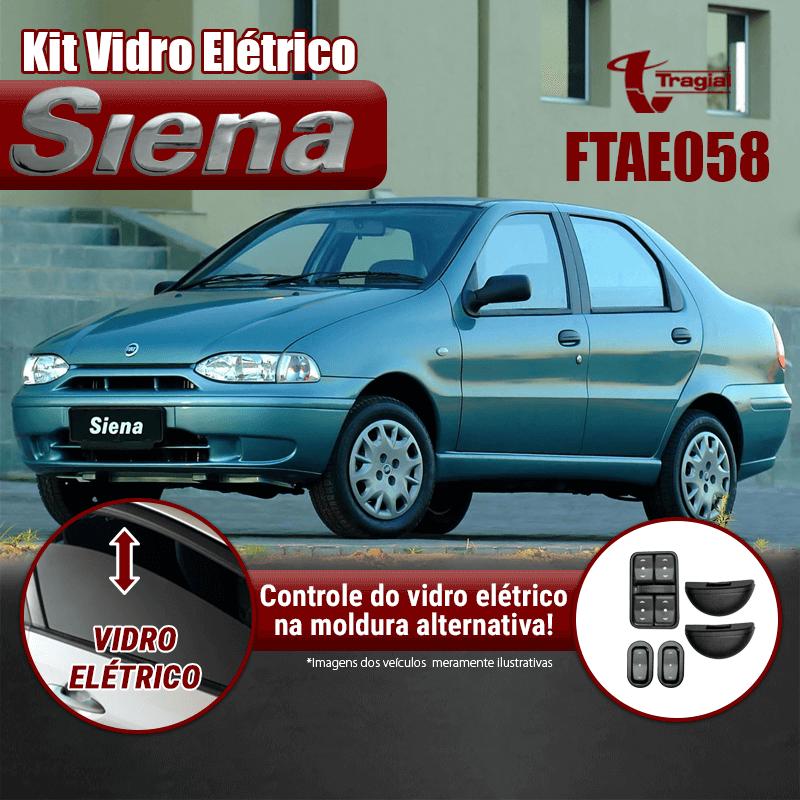 Kit Vidro Elétrico com Sistema Antiesmagamento Fiat  Siena 4 Portas Traseiro (Alternativo) Tragial