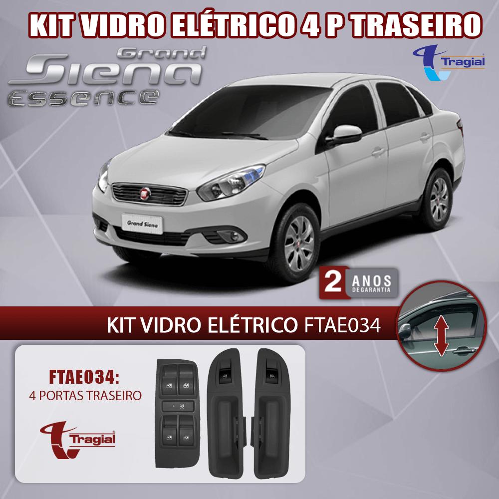Kit Vidro Elétrico com Sistema Antiesmagamento Fiat Siena Essence 4 Portas Traseiro Tragial