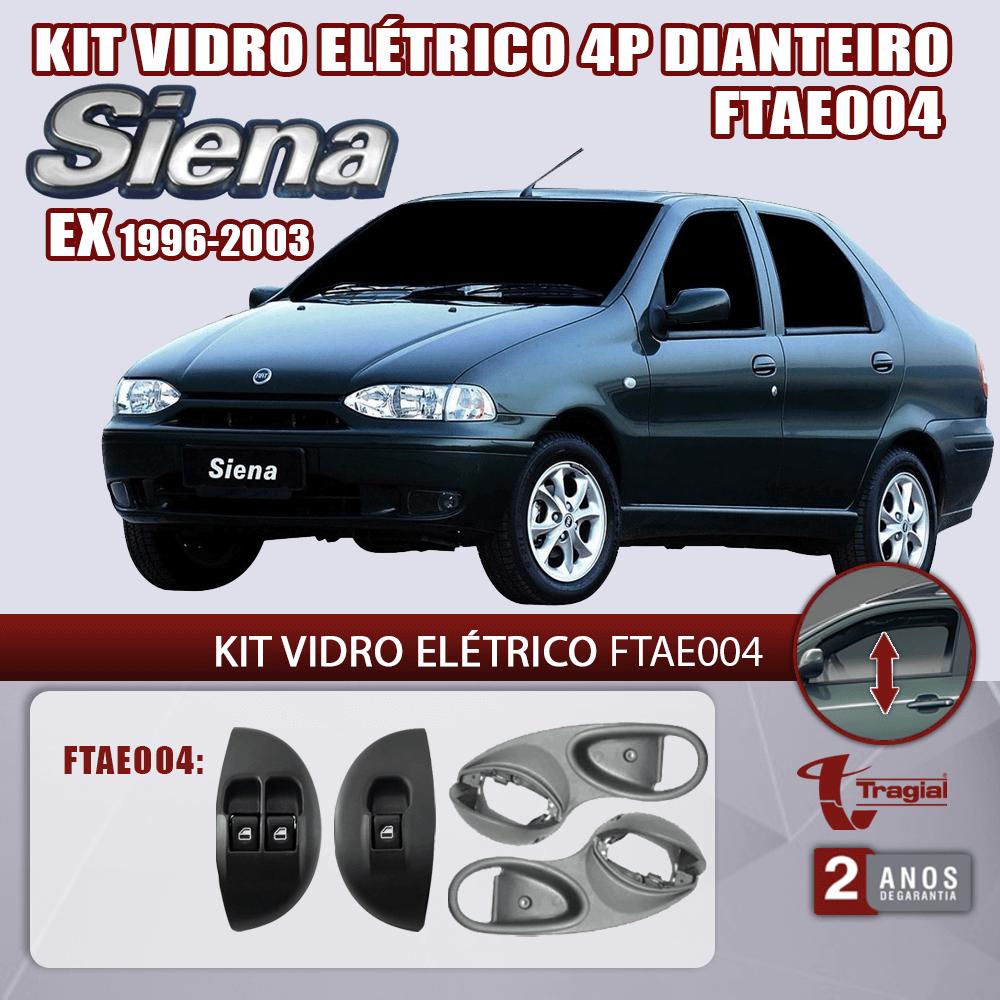 Kit Vidro Elétrico com Sistema Antiesmagamento Fiat Siena EX 1996-2003 4 Portas Dianteiro Tragial