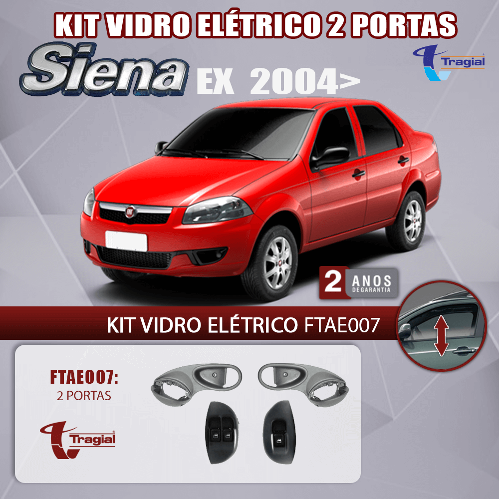 Kit Vidro Elétrico com Sistema Antiesmagamento Fiat Siena EX 2004 Tragial