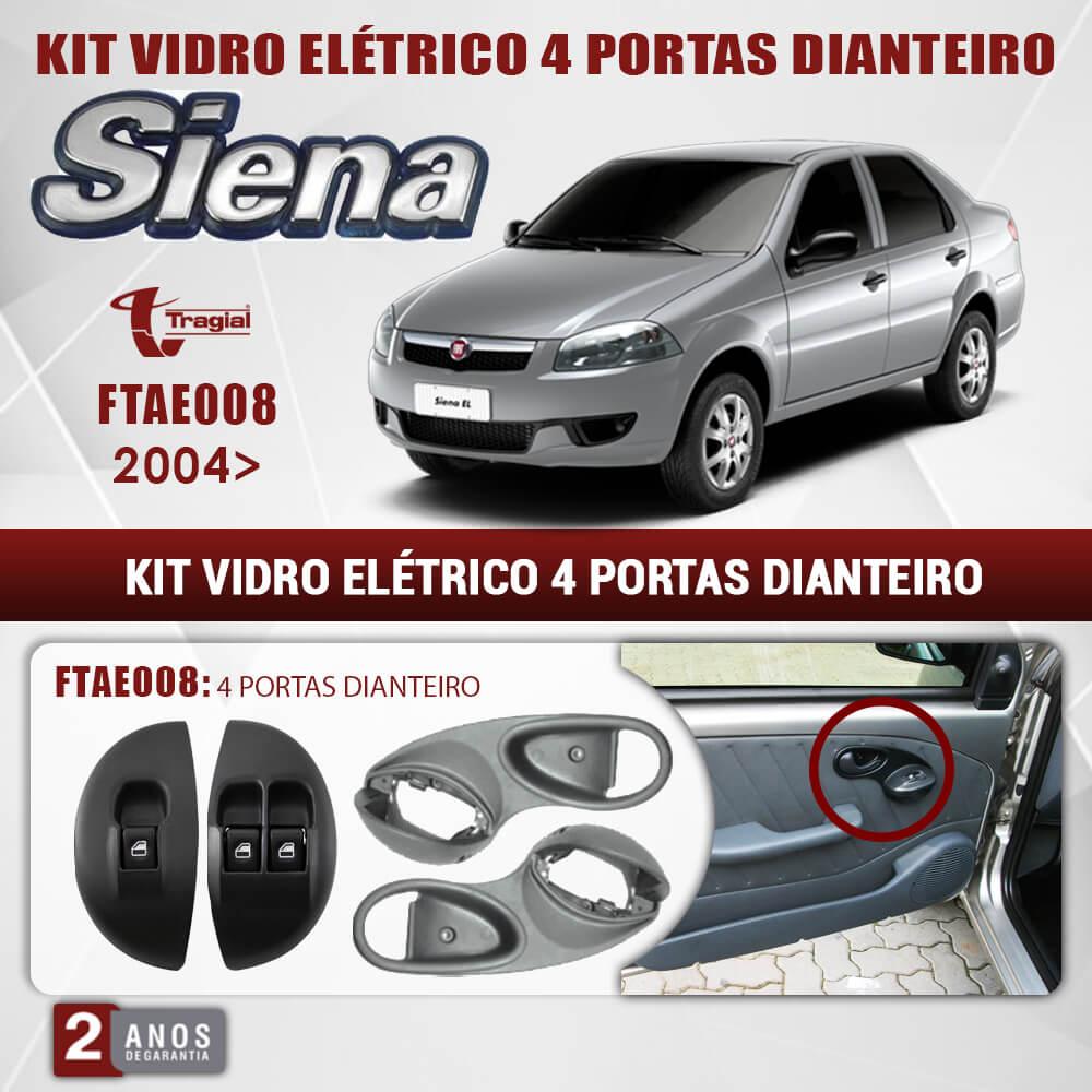 Kit Vidro Elétrico com Sistema Antiesmagamento Fiat Siena Ex 2004 4 Portas Dianteiro Tragial