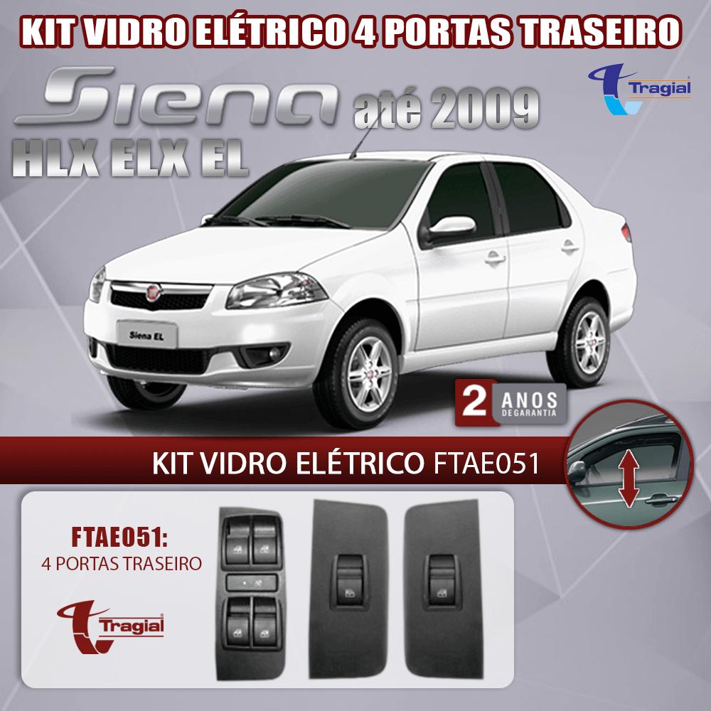 Kit Vidro Elétrico com Sistema Antiesmagamento Fiat Siena HLX – ELX- EL 4 Portas Traseiro Tragial
