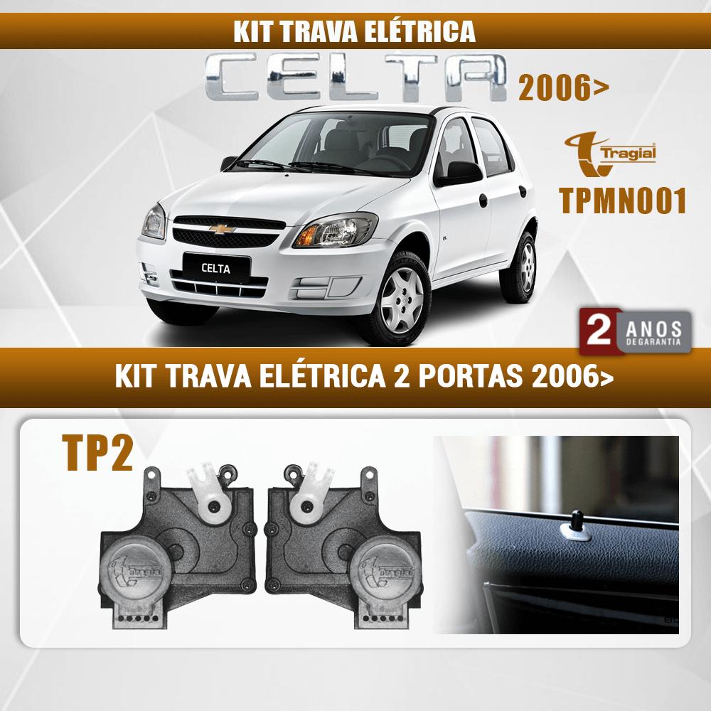 Kit Trava Elétrica GM Chevrolet Celta 2 Portas 2006 em Diante Tragial