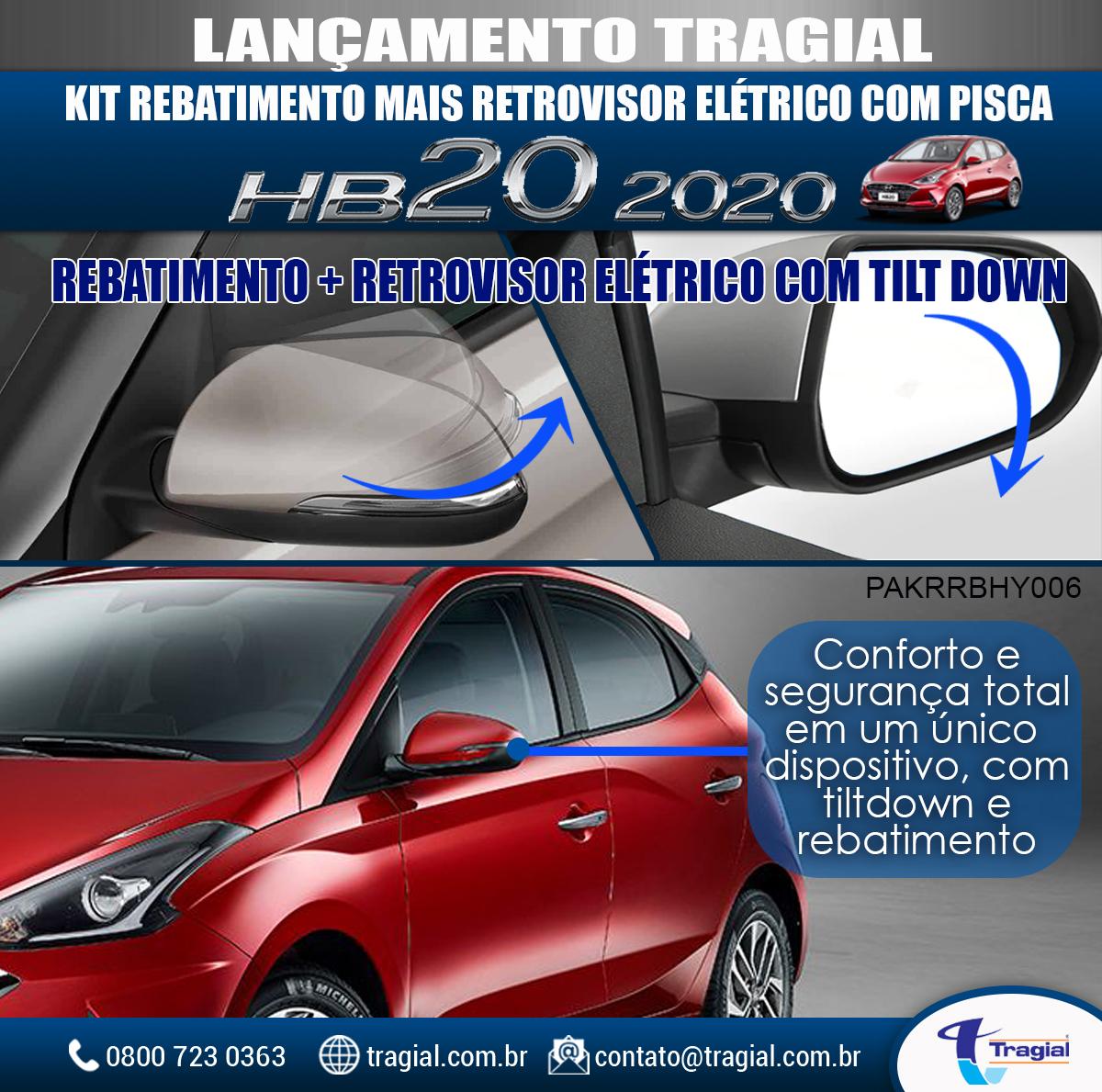 Kit Retrovisor Rebatimento + Tilt Down Hyundai Hb20 2020 Tragial